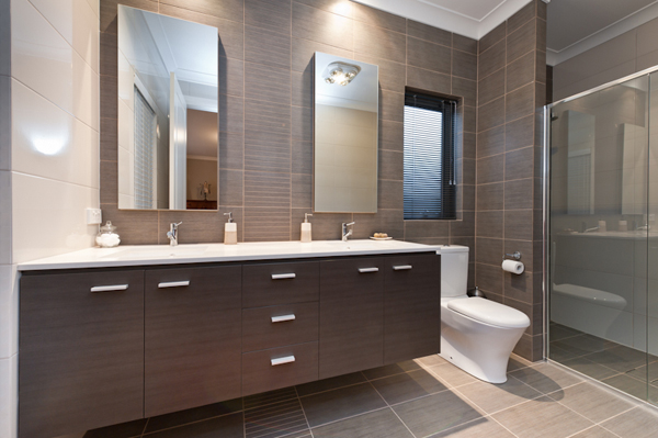 selection of custom built bathroom and laundry cabinetry